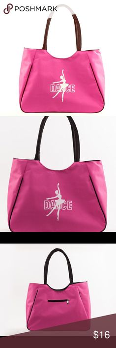 Pink Dance Gear Tote Bag New without tags Pink Dance bag.  Generously sized to fit all your Dance needs.  Bag is a Rose Pink/hot pink color with black trim.  Bag has zip top and has inside attached zip wallet for your important items.  Wallet is attached to inside of bag so it can be easily found when your bag is full. Bags Shoulder Bags