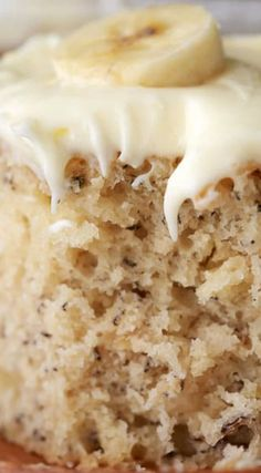 The BEST Banana Cake ~ Soft, moist and rich... Topped with a totally irresistible lemon cream cheese frosting.