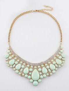 Green Drop Gemstone Gold Collar Necklace pictures