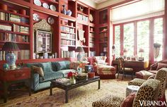Dallas decorator Beverly Field and Los Angeles architect Richardson Robertson III collaborated to create this glamorous home for one of the city's top philanthropic leaders. (See the full tour here.) Custom sofa, slipper chairs, armchair, and ottoman. Antique Oushak rug from Matt Camron Rugs & Tapestries.   - Veranda.com
