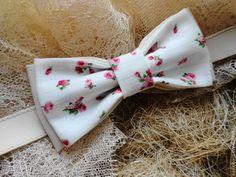 "Галстук бабочка ""Комбинация с Розами"" - бежевый,цветочный,бабочка галстук"