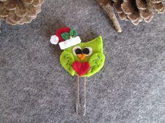 Graffetta con Gufo di Natale; Segnalibro in feltro; Segnalibro con gufo; Planner accessories; Regalo per lettori; Regalo di Natale di TinyFeltHeart su Etsy