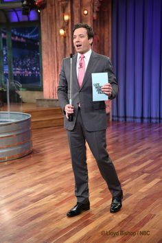 Jimmy Fallon sporting a pink tie for Valentine's Day