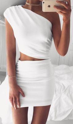 White Asymmetrical Dress Source