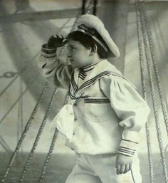 1910 Photo Boy Sailor on Board SHIP Feinberg Carbonettes