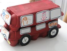 Make an egg carton double decker bus from hartcraft to go with the nursery rhyme The wheels on the bus go round and round. Nursery Rhyme Crafts, Nursery Rhymes, London Bus, Rhyming Activities, Activities For Kids, Toddler Crafts, Crafts For Kids, Egg Box Craft, Junk Modelling