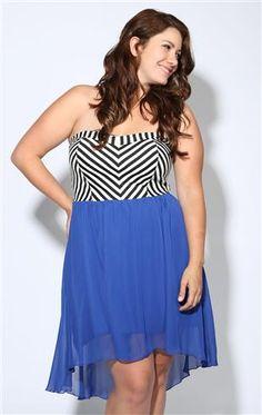 Deb Shops plus size strapless #chevron print high low day dress $31.92