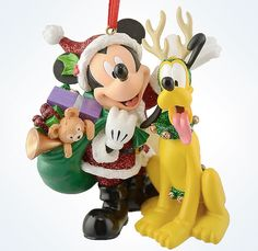 Santa Mickey delivers the goods with the help of his best pal Pluto in reindeer gear, for a sparkling holiday ornament sure bring a load of cheer to your family tree! - Fully sculptured figural orname