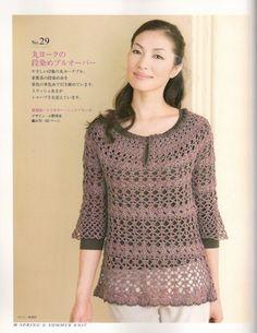 Crochetemoda Blog: Crochet - Blusa Marrom