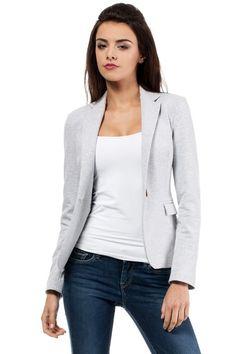 Look what I found on Light Gray Marled Blazer - Women Perfect Wardrobe, Work Wardrobe, Casual Mode, Beige Blazer, Jackett, Jacket Buttons, International Fashion, Blazers For Women, Sport Outfits