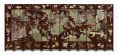 Twelve-panel Chinese incised lacquer screen depicting Europeans in a landscape, about height 244 cm. Museum of Fine Arts, Boston, Keith McLeod Fund. © 2016 Museum of Fine Arts, Boston Miniature Furniture, Museum Of Fine Arts, Chinoiserie, Home Decor Accessories, Vintage World Maps, Miniatures, Quilts, Blanket, Boston