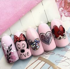 Fancy Nails, Pink Nails, Cute Nails, Pretty Nails, Gel Nails, Cute Nail Art, Mickey Mouse Nail Art, Minnie Mouse Nails, Mickey Mouse Nails