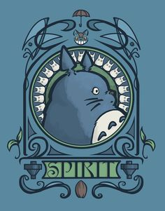 totoro, totoro! forest spirit nouveau, by *khallion. i especially like the little catbus under the umbrella at the top.