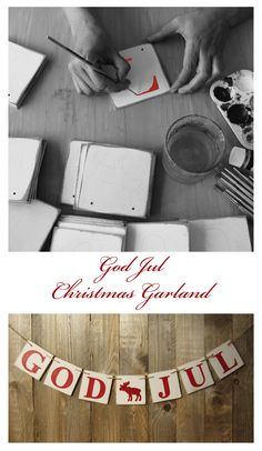 God Jul christmas garland with letters in red or green with glitter christmas decoration housewarming gift rustic scandinavian style vintage