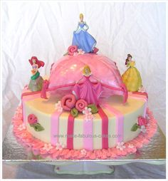 Princess Cake  Here's a special princess cake for your little royalty.  A pillow cake sits on top of a round cake adds that majestic touch. Different shades of the celebrant's favorite color, pink, was used.