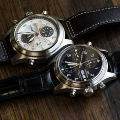 Doppel Doppelchronographs from IWC.  Which would you prefer? The Spitfire or the more classic Pilot?