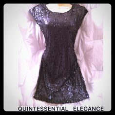 "✂️FINAL PRICE✂️ NWT PAPILLON BLANC Sequin Dress Simply gorgeous embellished dress from the Sportswear collection. Sophisticated with a more casual feel, fully lined, scoop neck, over the head, light and easy to wear. 90% polyester/10% elastase. Made in Canada. B 32"" W 28"" H 30"" L 33"" Back 16"". Elastase stretches to fit your curves. Belt shown is not included. This is perfect for the Holiday Season. From my closet to yours! Pappillon Blanc Dresses Mini"