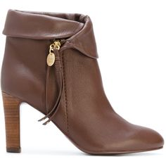 When it comes to femininity with an urban edge See by Chloé offers a distinctly Parisian yet striking aesthetic.  These brown leather zipped ankle boots featur…