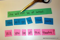 "Mixed Up Sentences---Write a sentence on different colored construction paper, laminate and cut into individual word pieces.  Students put the sentence into the correct order and write it on the recording sheet---I love this activity from ""the school supply addict"""