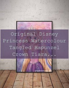 Original Disney Princess Watercolour Tangled Rapunzel Crown Tiara Wall Art Print Home Decor Punzie H | Disney Princess Wall Art |  Disney Princess Bedroom   | Princess Room Ideas For A Toddler | Disney Princess Wall Decor. #girlbedrooms #Products Disney Princess Bedroom, Princess Wall Art, Princess Room, Rapunzel Crown, Tangled Rapunzel, Teenage Girl Bedrooms, Girls Bedroom, Original Disney Princesses, Disney With A Toddler