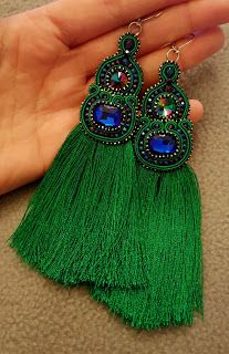 biżuteria soutache, haft koralikowy, torby z filcu: Feather Jewelry, Tassel Jewelry, Fabric Jewelry, Beaded Jewelry, Silk Thread Earrings, Thread Jewellery, Soutache Earrings, Funky Earrings, Earrings Handmade