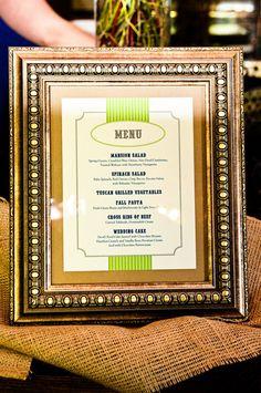 framed wedding menu