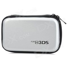 Protective Hard Artificial Leather Carrying Pouch for Nintendo 3DS - Silver