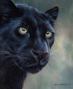 Black painting - black panther by sarah stribbling big cats art, cat art, black Black Panther Cat, Black Panther Tattoo, Big Cats Art, Cat Art, Beautiful Cats, Animals Beautiful, Majestic Animals, Wildlife Art, Black Panther Marvel