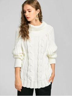 Cable Knit Turtleneck Chunky Sweater - WHITE ONE SIZE