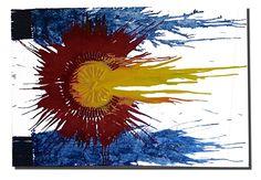 One of a kind Colorado Flag Crayon Art. $150.00, via Etsy.