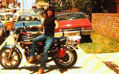 Bon Scott on his motorcycle