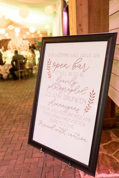 This open bar wedding sign is amazing. Chantal and Chris' provided their guests . Open Bar Wedding, Our Wedding, Park Tavern, Wedding Signs, Special Events, Atlanta Georgia, Amazing, Creative, Frame
