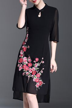 Stand Collar Embroidered Asymmetrical Dress