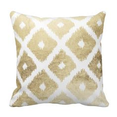 Modern chic faux gold leaf ikat pattern throw pillows