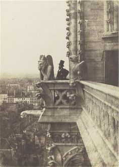 """Charles Nègre / """"Le Stryge"""", Henri Le Secq près d'une gargouille, Notre Dame, Paris, 1853"""