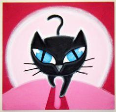 cAT iN tHE dARK - 20X20 original acrylic painting on canvas, cat art, cat painting, cat love, cat and moon