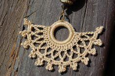Crocheted Brown Fan Shaped Earrings by lindapaula on Etsy