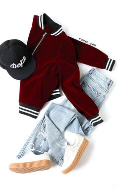 Burgundy Velvet Bomber Jacket With Striped Trim Detail with denim jeans from romwe.com