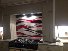 Bespoke glass splash back in cranberry and grey. Glass Installation, Interior Accessories, Glass, Interior, Glass Kitchen, Splash, Splashback, Home Decor