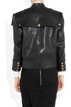 Balmain|Button-detailed leather jacket|NET-A-PORTER.COM