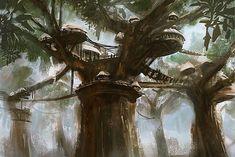 Treetop Village by Benjamin Giletti Fantasy Village, Fantasy City, Fantasy House, Fantasy Places, Sci Fi Fantasy, Fantasy World, Fantasy Art Landscapes, Fantasy Landscape, Fantasy Concept Art