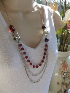 Red Necklace Red Bead Necklace Long Necklace by RalstonOriginals, $15.00