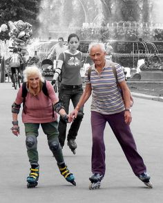 Gotta love this couple - they don't let their ages stop them. Rollerblade riding is healthy and fun.