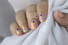 Easy short nails neon distressed design with studs. By Vilcis