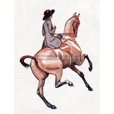 Horse Fabric Block  Girl Rides Sidesaddle  by KatyDidsFabrics, $5.99