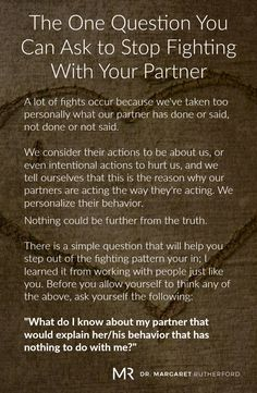 The One Question You Can Ask to Stop Fighting With Your Partner | Dr. Margaret Rutherford