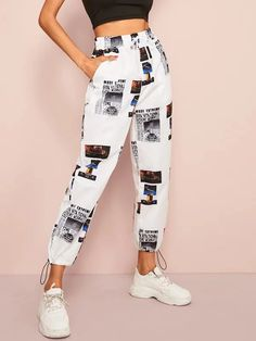 Drawstring Waist Pants - Source by - Baggy Pants, Cute Pants, Jogger Pants, Cropped Trousers, Flare Leg Pants, Vetement Fashion, Jeans Price, Teen Fashion Outfits, Sporty Fashion