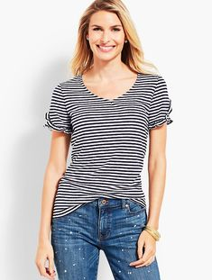 bee11665659 Discover your modern classic look with Tulip Sleeve Tee-Stripe from Talbots.