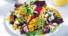 Roasted Delicata Squash & Creamy Blue Cheese Sauce A simple, make-ahead friendly delicata squash salad that's a perfect holiday side! Marinated cabbage, roasted squash, and currants are delicious with a thick Greek yogurt-blue cheese sauce. Vegetarian Thanksgiving, Thanksgiving Side Dishes, Thanksgiving Recipes, Thanksgiving Salad, Christmas Recipes, Vegetarian Side Dishes, Vegetarian Recipes, Healthy Recipes, Vegetarian Salad
