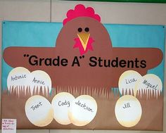 Student recognition in the classroom. This is a good example of positively reinforcing high academic achievement. Farm Bulletin Board, Library Bulletin Boards, Preschool Bulletin Boards, Preschool Farm, Classroom Displays, Classroom Themes, Classroom Organization, Birthday Board, Farm Birthday